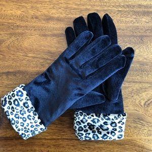 Cejon velvet gloves with leopard trim